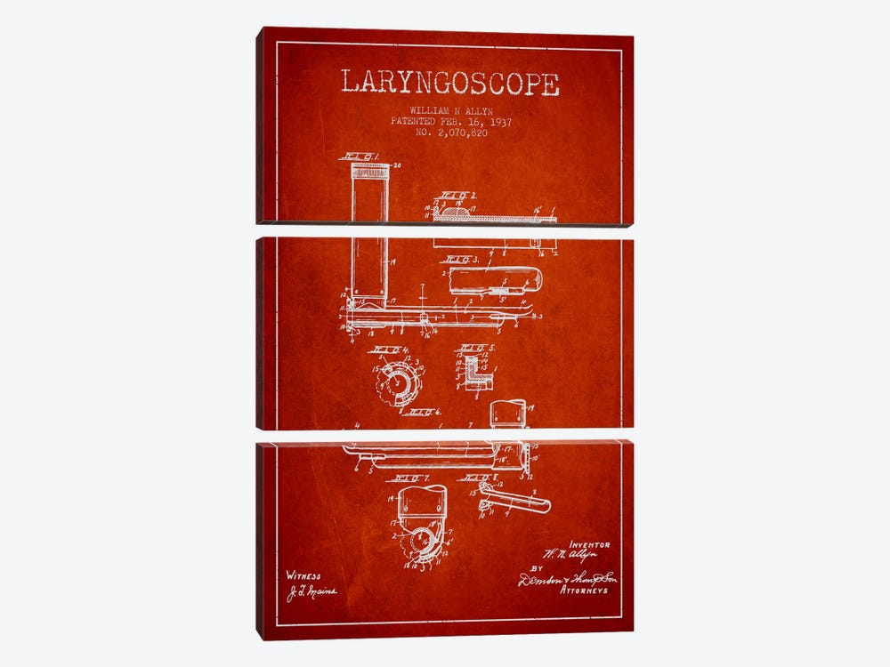 Laryngoscope Red Patent Blueprint by Aged Pixel 3-piece Art Print
