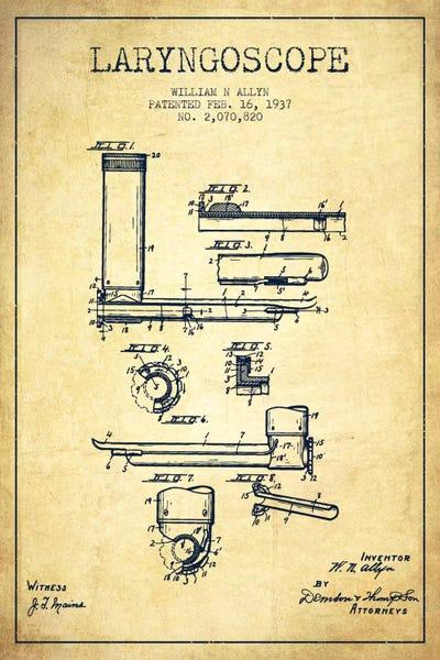 Laryngoscope vintage patent blueprint canvas artwork aged pixel canvas malvernweather Images