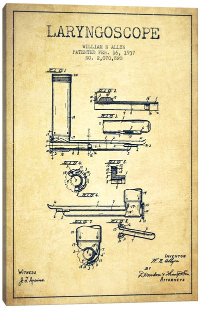 Laryngoscope Vintage Patent Blueprint Canvas Art Print