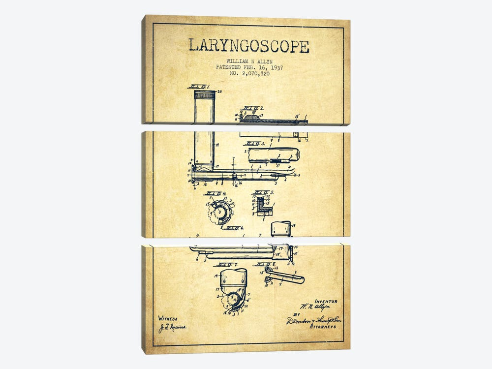 Laryngoscope Vintage Patent Blueprint by Aged Pixel 3-piece Canvas Wall Art