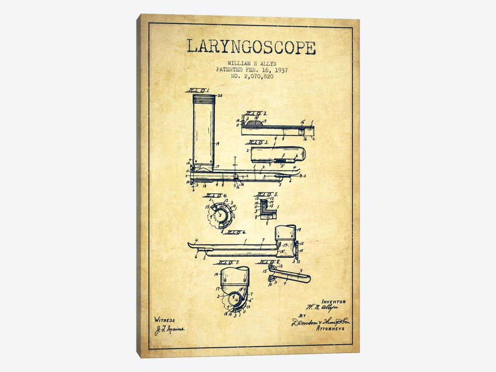 Laryngoscope Vintage Patent Blueprint by Aged Pixel 1-piece Canvas Art
