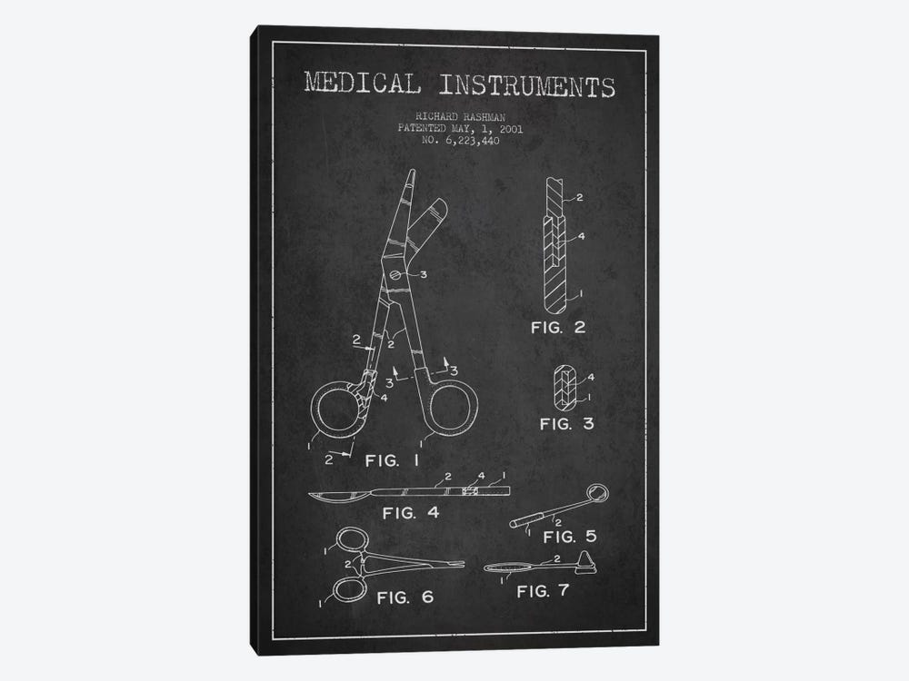 Medical Instruments Charcoal Patent Blueprint by Aged Pixel 1-piece Art Print