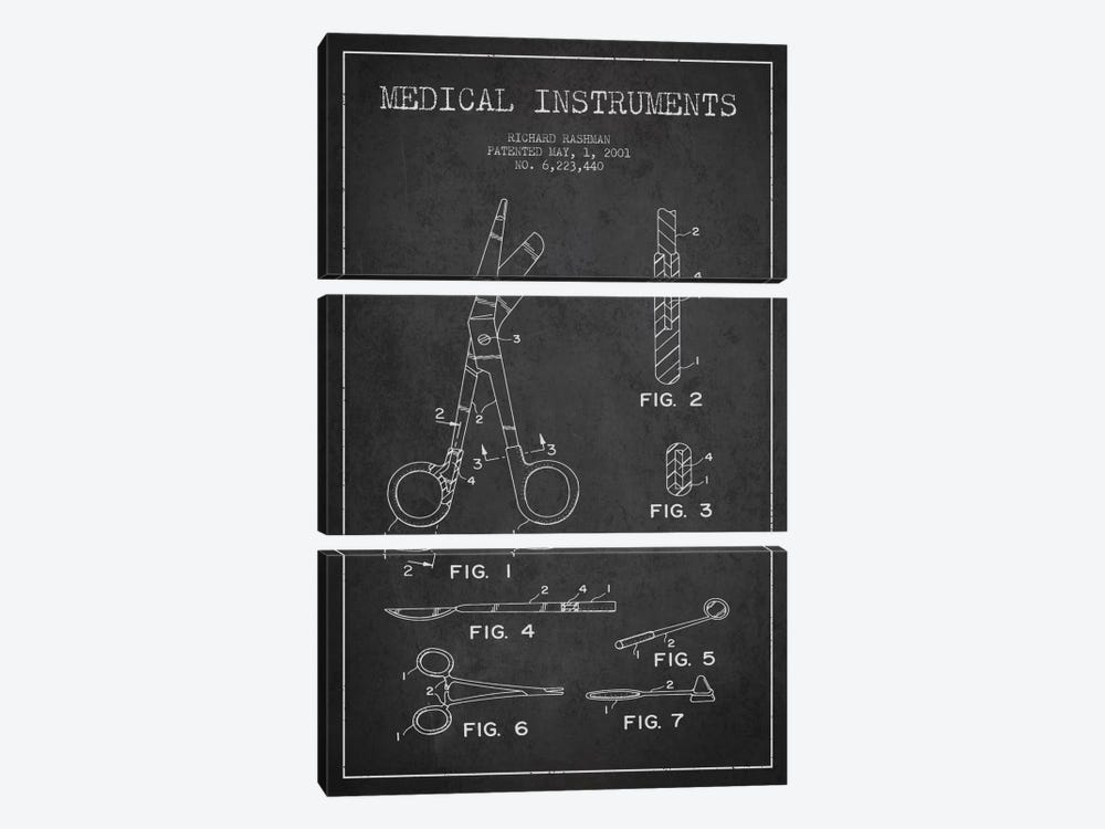 Medical Instruments Charcoal Patent Blueprint by Aged Pixel 3-piece Canvas Art Print