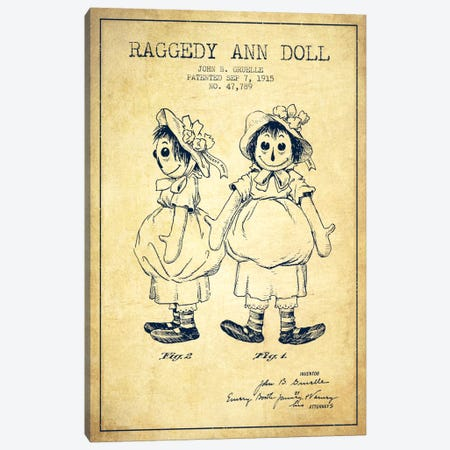 Raggedy Ann Vintage Patent Blueprint Canvas Print #ADP160} by Aged Pixel Canvas Artwork