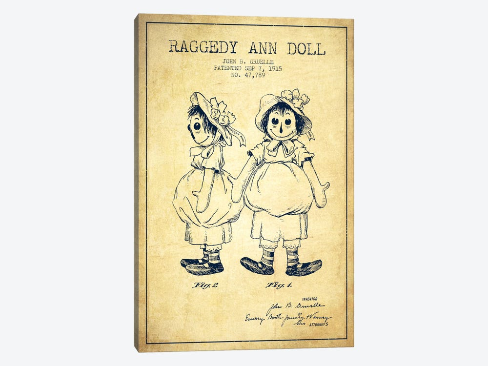 Raggedy Ann Vintage Patent Blueprint by Aged Pixel 1-piece Canvas Art