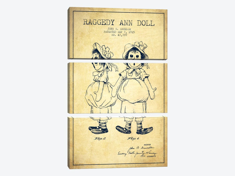 Raggedy Ann Vintage Patent Blueprint by Aged Pixel 3-piece Canvas Wall Art