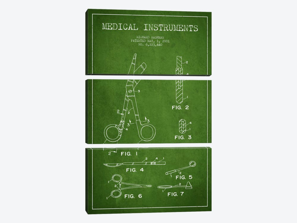 Medical Instruments Green Patent Blueprint by Aged Pixel 3-piece Canvas Print