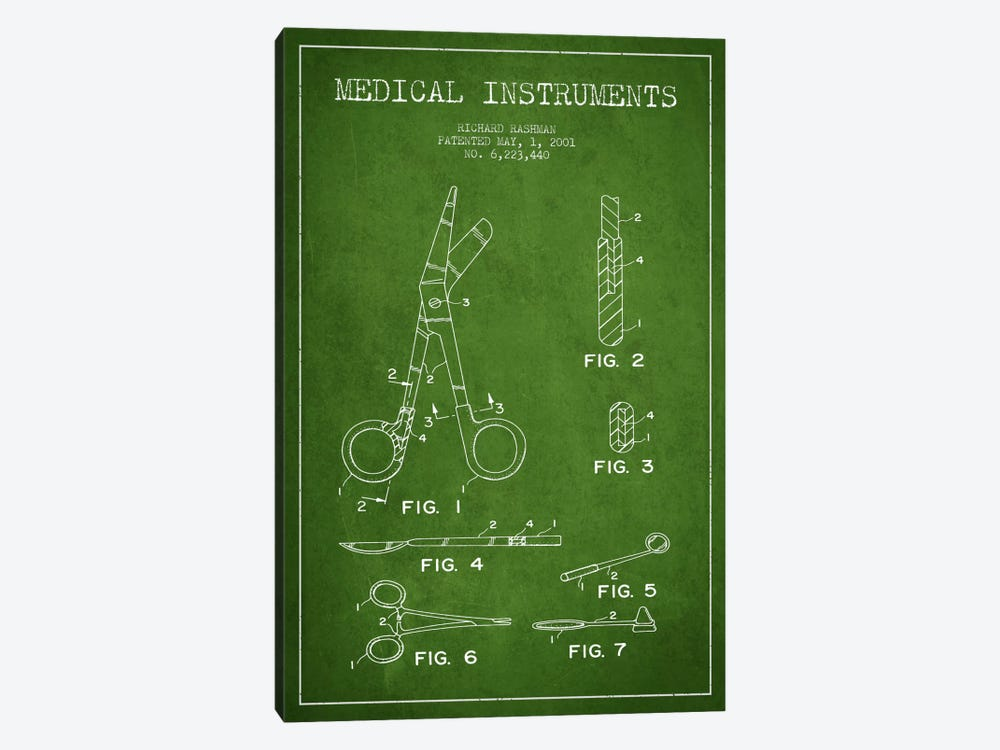 Medical Instruments Green Patent Blueprint by Aged Pixel 1-piece Art Print