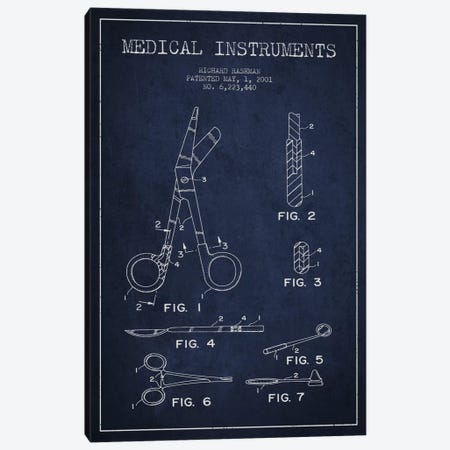 Medical Instruments Navy Blue Patent Blueprint Canvas Print #ADP1611} by Aged Pixel Art Print