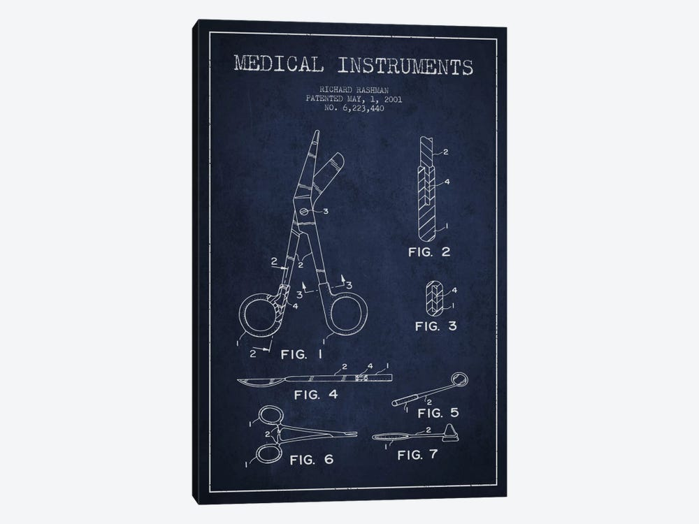 Medical Instruments Navy Blue Patent Blueprint by Aged Pixel 1-piece Canvas Art