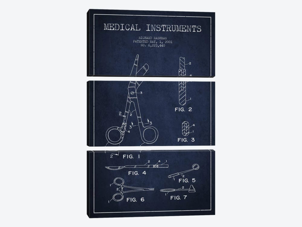 Medical Instruments Navy Blue Patent Blueprint by Aged Pixel 3-piece Canvas Art