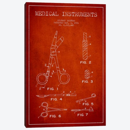 Medical Instruments Red Patent Blueprint Canvas Print #ADP1612} by Aged Pixel Art Print