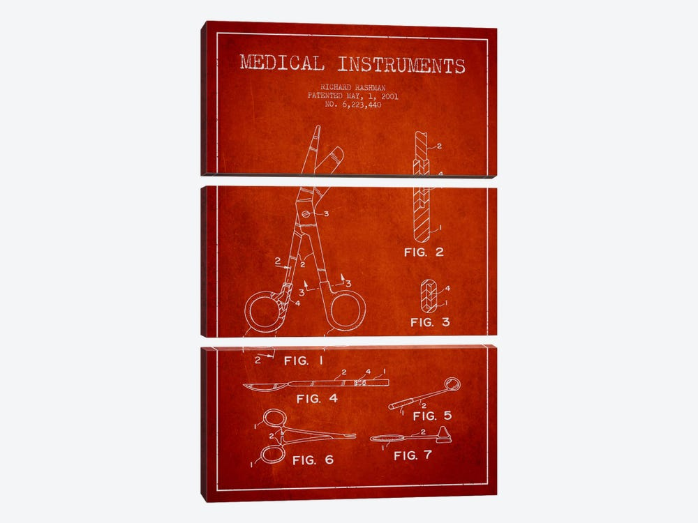 Medical Instruments Red Patent Blueprint by Aged Pixel 3-piece Canvas Print