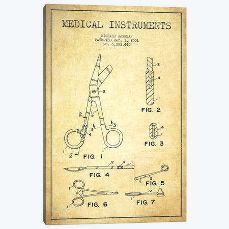 Medical Instruments Vintage Patent Blueprint Canvas Print #ADP1613} by Aged Pixel Art Print
