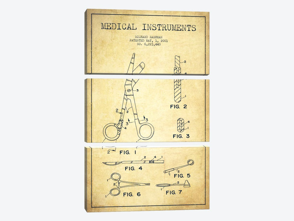 Medical Instruments Vintage Patent Blueprint by Aged Pixel 3-piece Canvas Art