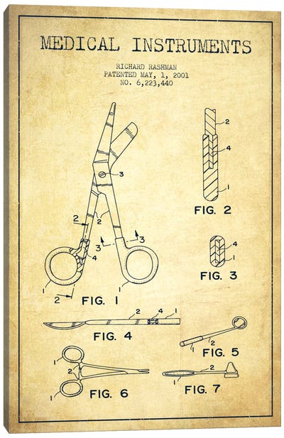 Medical Instruments Vintage Patent Blueprint Canvas Art Print