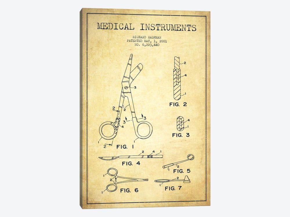 Medical Instruments Vintage Patent Blueprint by Aged Pixel 1-piece Canvas Artwork