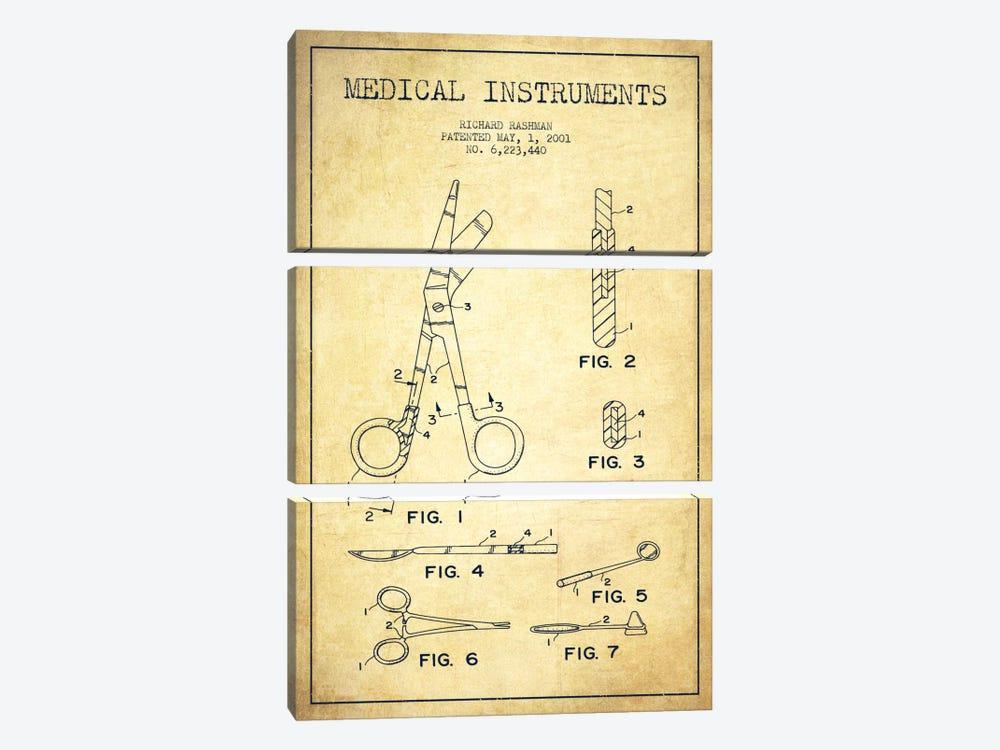 Medical Instruments Vintage Patent Blueprint by Aged Pixel 3-piece Canvas Art
