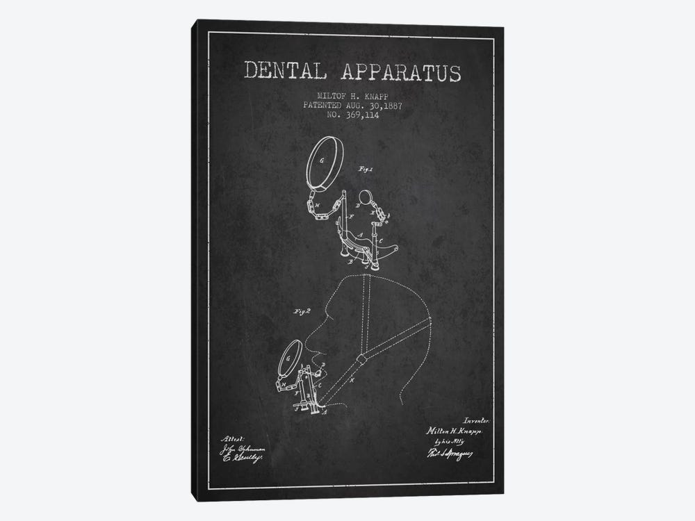 Dental Apparatus Charcoal Patent Blueprint by Aged Pixel 1-piece Canvas Art Print