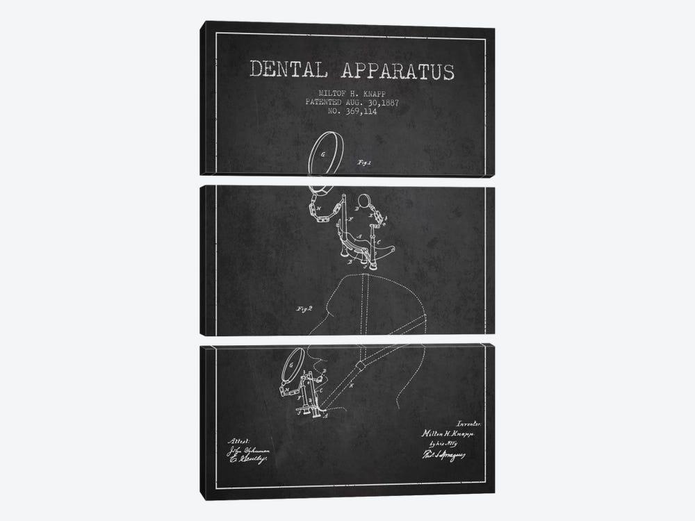 Dental Apparatus Charcoal Patent Blueprint by Aged Pixel 3-piece Canvas Print