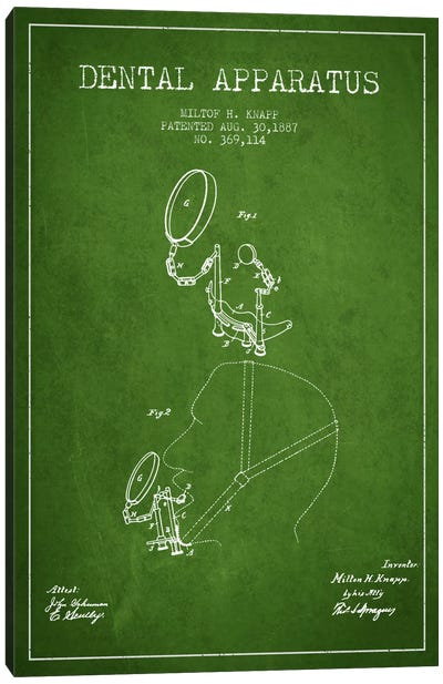 Dental Apparatus Green Patent Blueprint Canvas Art Print