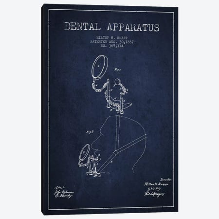 Dental Apparatus Navy Blue Patent Blueprint Canvas Print #ADP1616} by Aged Pixel Canvas Artwork