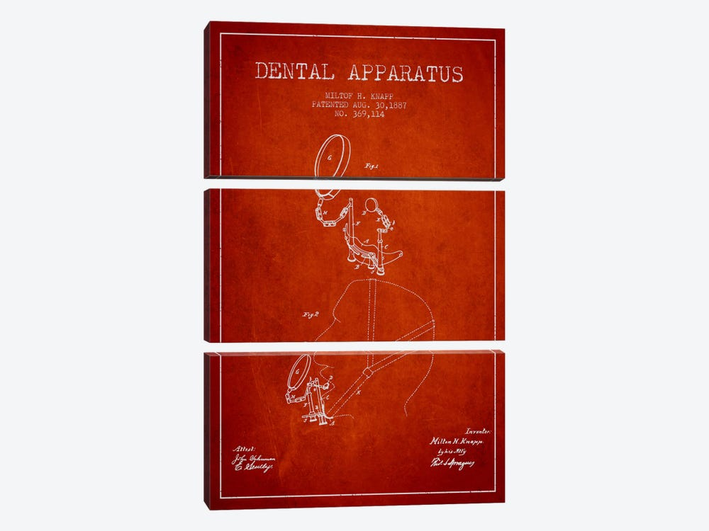 Dental Apparatus Red Patent Blueprint by Aged Pixel 3-piece Canvas Wall Art