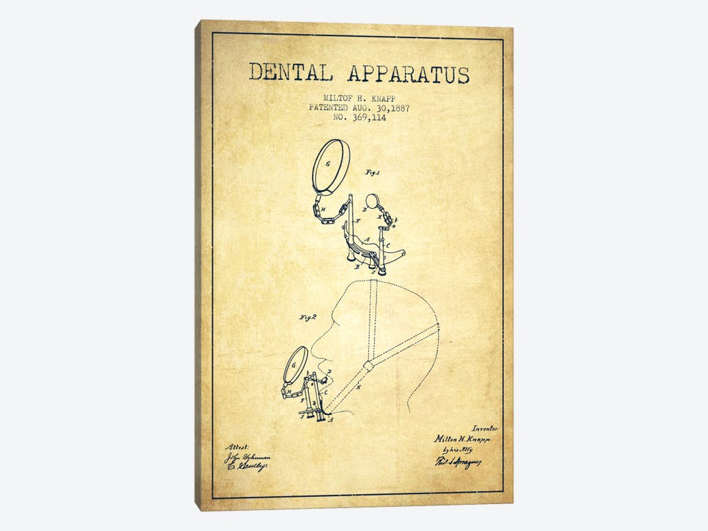 Dental Apparatus Vintage Patent Blueprint by Aged Pixel 1-piece Canvas Art Print