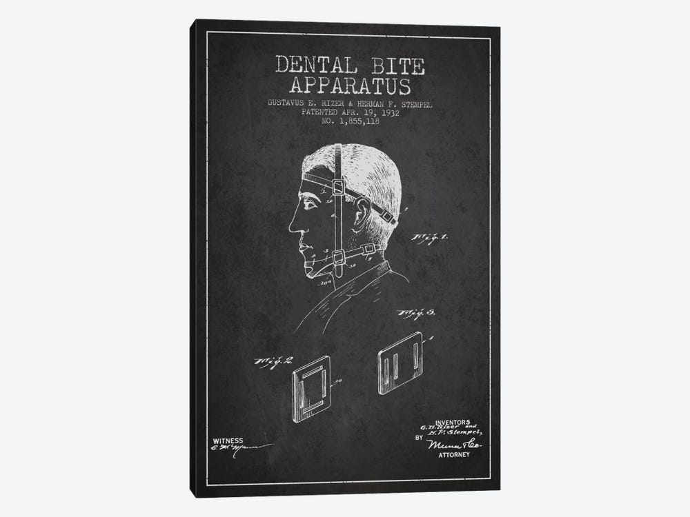 Dental Bite Charcoal Patent Blueprint by Aged Pixel 1-piece Canvas Art