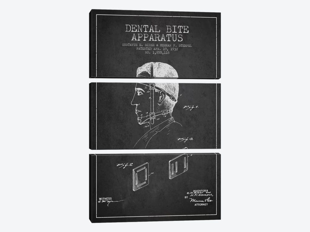 Dental Bite Charcoal Patent Blueprint by Aged Pixel 3-piece Canvas Art