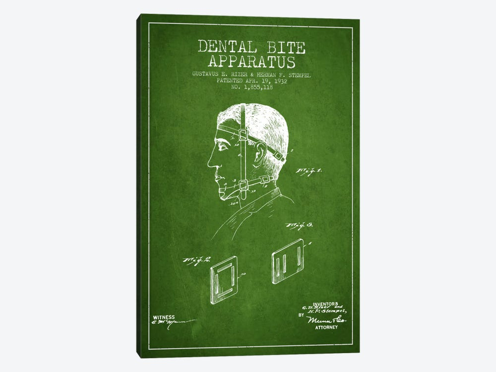 Dental Bite Green Patent Blueprint by Aged Pixel 1-piece Canvas Artwork