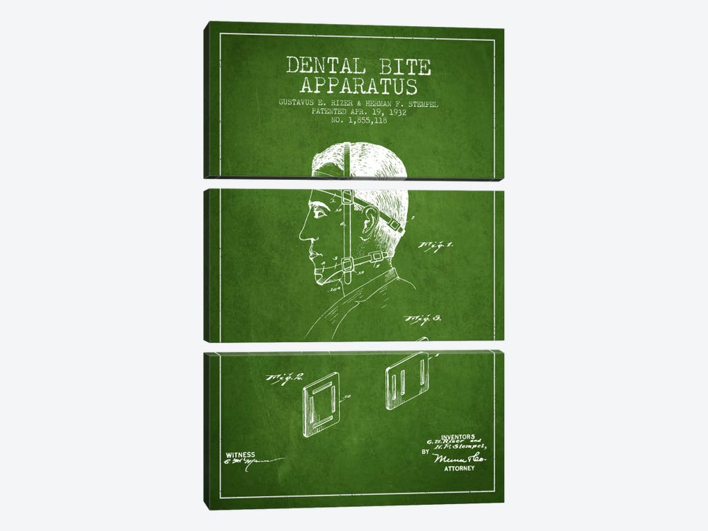 Dental Bite Green Patent Blueprint by Aged Pixel 3-piece Canvas Art