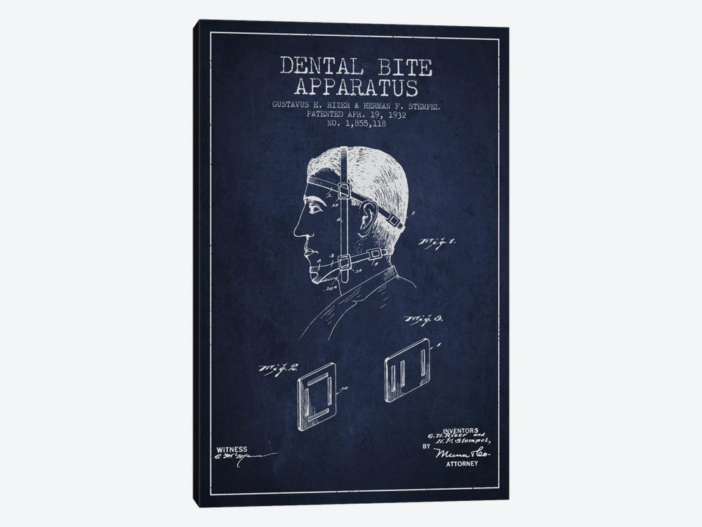 Dental Bite Navy Blue Patent Blueprint by Aged Pixel 1-piece Canvas Art Print