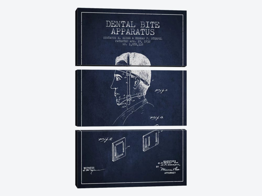 Dental Bite Navy Blue Patent Blueprint 3-piece Art Print