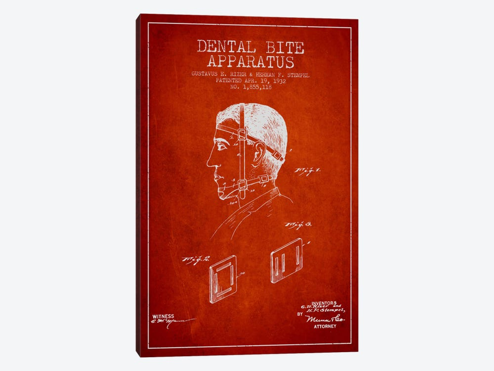 Dental Bite Red Patent Blueprint by Aged Pixel 1-piece Canvas Artwork