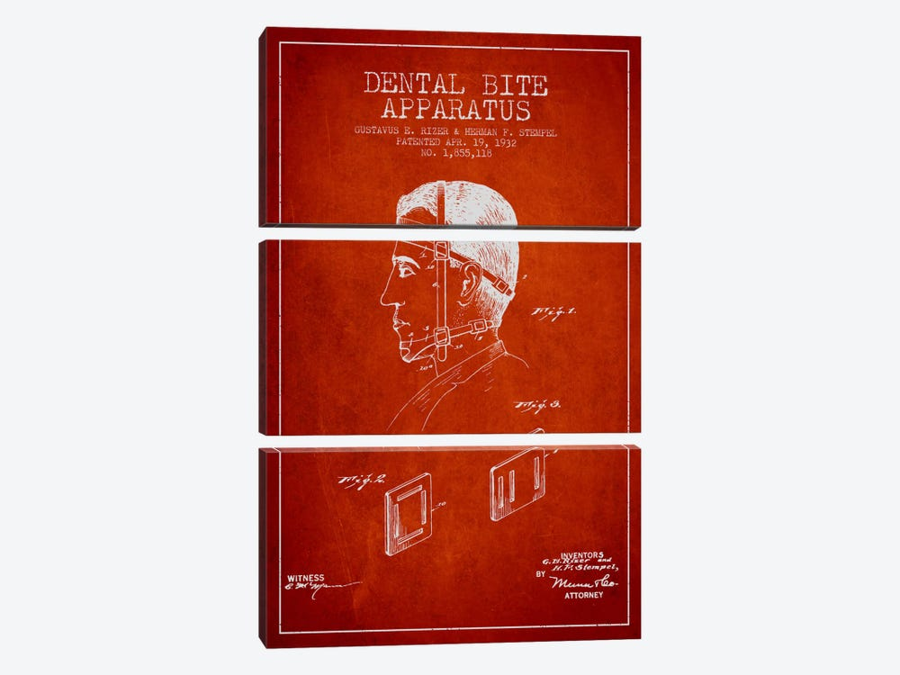 Dental Bite Red Patent Blueprint by Aged Pixel 3-piece Canvas Wall Art