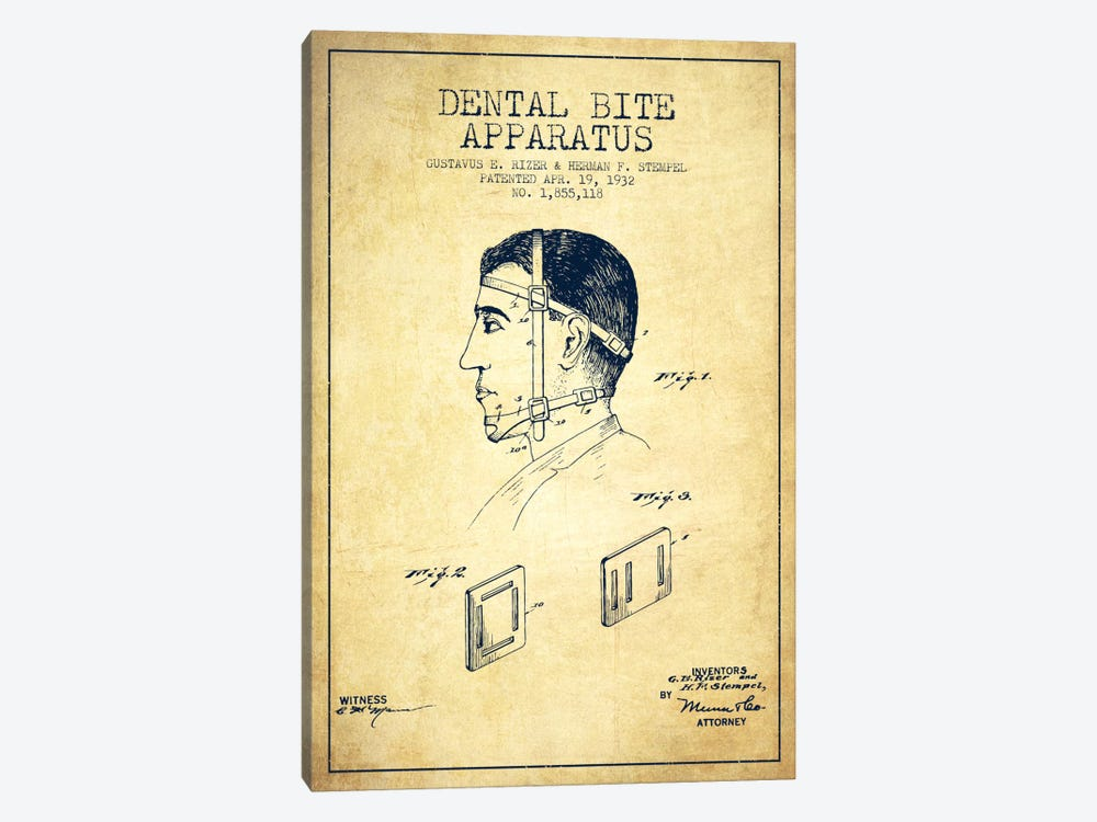 Dental Bite Vintage Patent Blueprint by Aged Pixel 1-piece Canvas Art Print