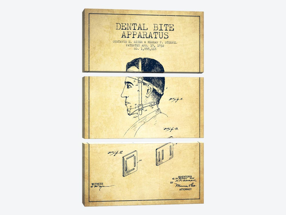Dental Bite Vintage Patent Blueprint by Aged Pixel 3-piece Canvas Art Print