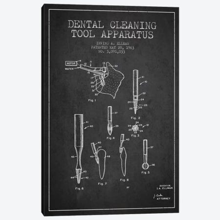 Dental Cleaning Tool Charcoal Patent Blueprint Canvas Print #ADP1624} by Aged Pixel Art Print