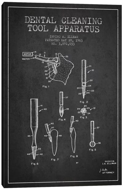 Dental Cleaning Tool Charcoal Patent Blueprint Canvas Art Print