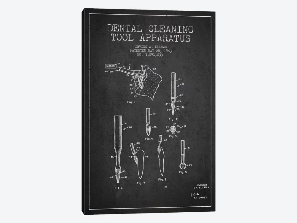 Dental Cleaning Tool Charcoal Patent Blueprint by Aged Pixel 1-piece Canvas Art
