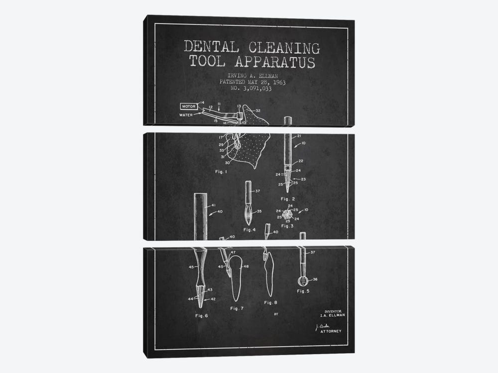 Dental Cleaning Tool Charcoal Patent Blueprint by Aged Pixel 3-piece Canvas Artwork