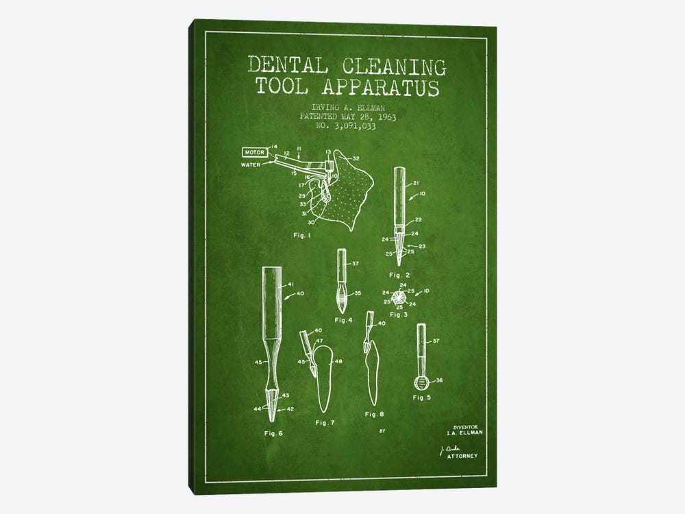 Dental Cleaning Tool Green Patent Blueprint by Aged Pixel 1-piece Canvas Print