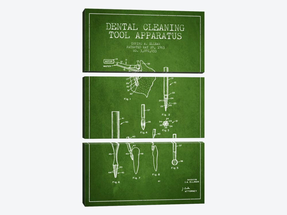 Dental Cleaning Tool Green Patent Blueprint by Aged Pixel 3-piece Canvas Print