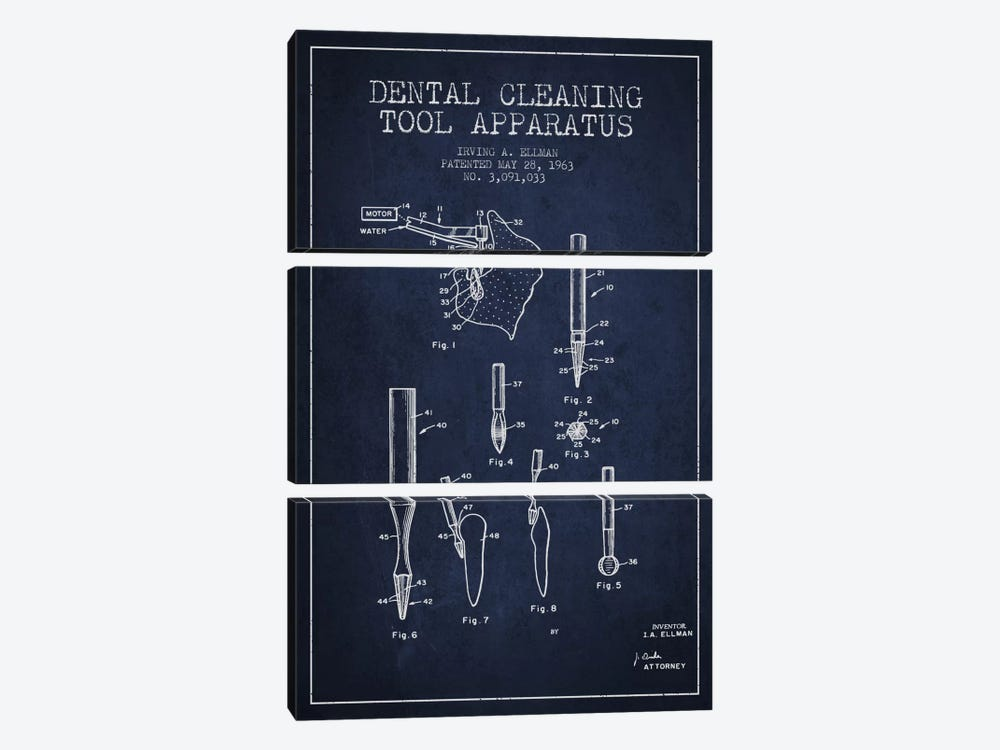 Dental Cleaning Tool Navy Blue Patent Blueprint by Aged Pixel 3-piece Canvas Artwork