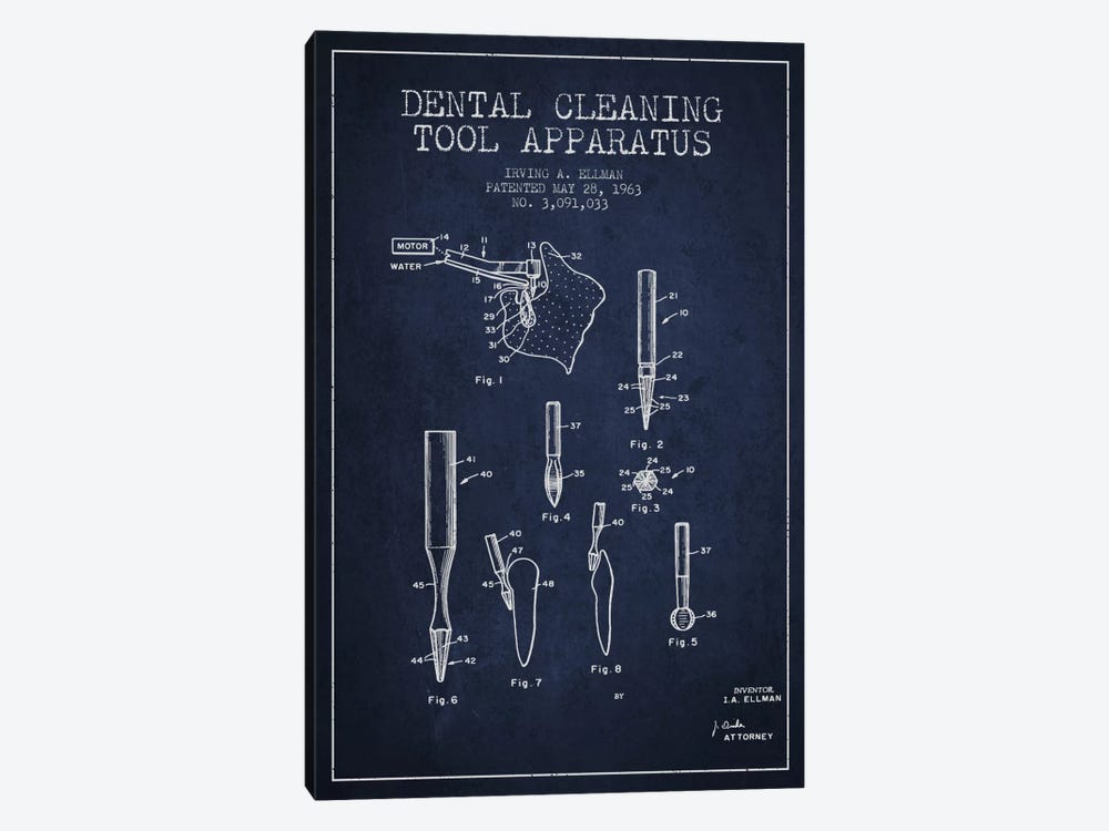 Dental Cleaning Tool Navy Blue Patent Blueprint by Aged Pixel 1-piece Canvas Art
