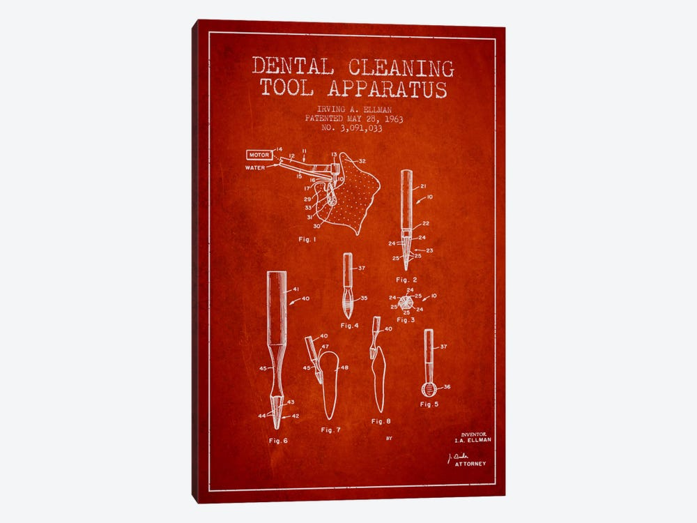 Dental Cleaning Tool Red Patent Blueprint by Aged Pixel 1-piece Canvas Print