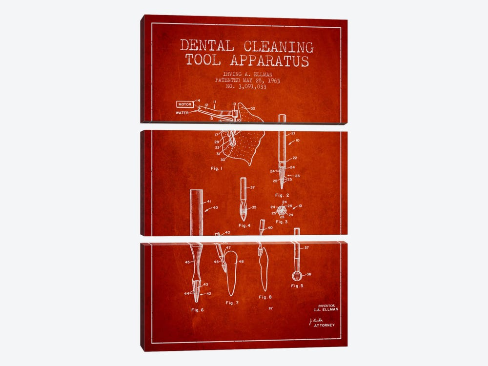 Dental Cleaning Tool Red Patent Blueprint by Aged Pixel 3-piece Canvas Print