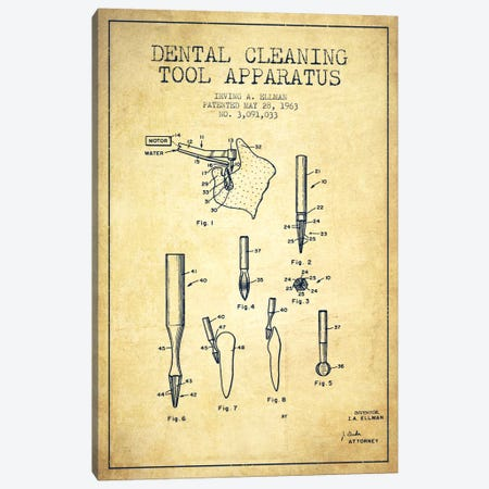 Dental Cleaning Tool Vintage Patent Blueprint Canvas Print #ADP1628} by Aged Pixel Canvas Art
