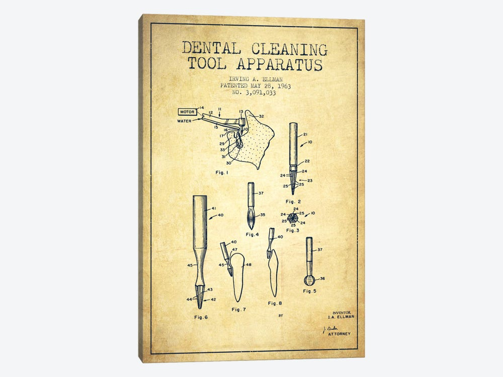 Dental Cleaning Tool Vintage Patent Blueprint by Aged Pixel 1-piece Canvas Wall Art